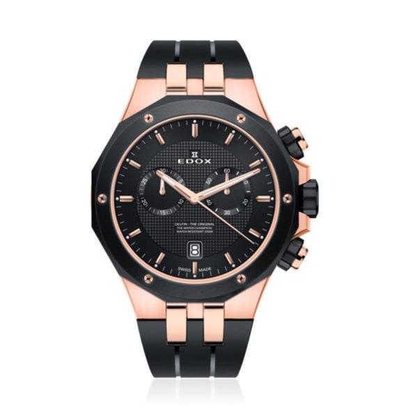 reloj edox delfin negro dvd rosa cronografo 10110-357RNCA-NIR