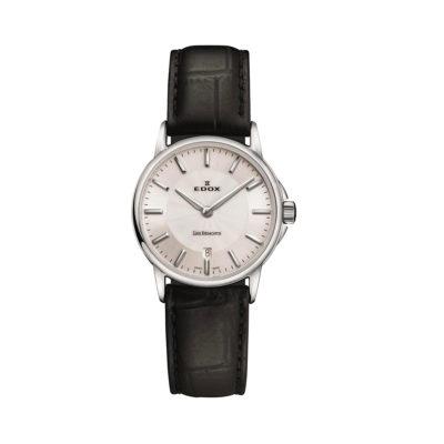 reloj edox pulso cuero negro dama les bemonts 57001-3-AIN