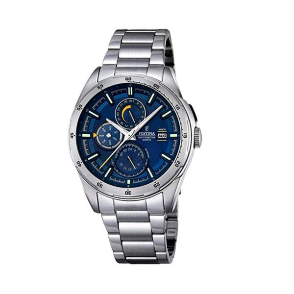 reloj festina multifuncional tablero azul acero F16876-2