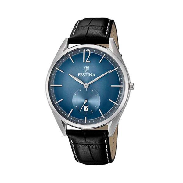 reloj festina tablero azul pulso cuero F6857-3