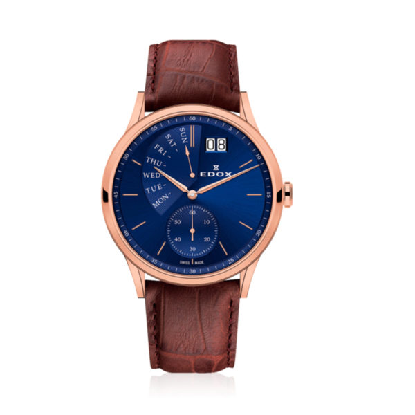 Reloj edox tablero azul les vauberts retrogrado 34500-37R-BUIR