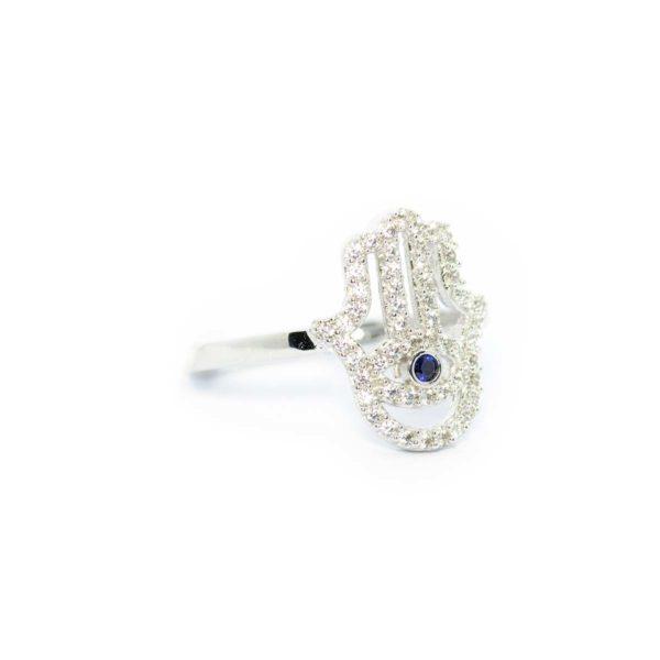 anillo mano oro blanco