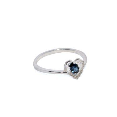 anillo oro blanco zafiro