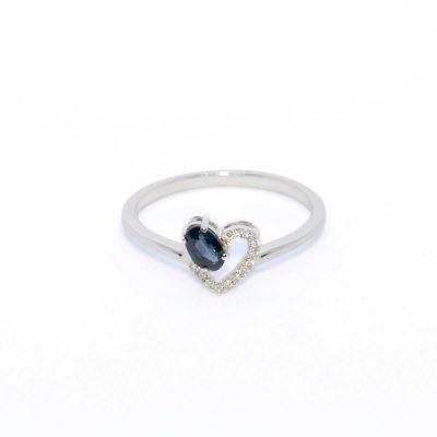 anillo zafiro oro blanco