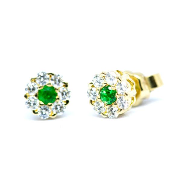 TOPOS Oro Amarillo Flor Diamante y Esmeralda