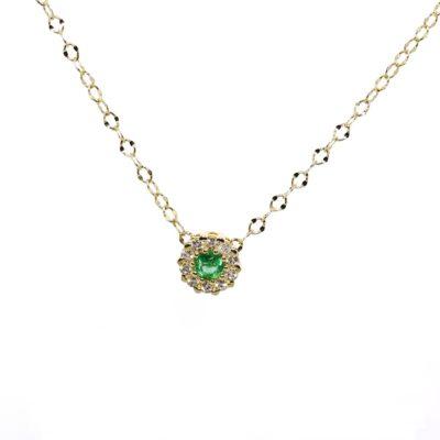 CADENA Oro Amarillo Flor Diamantes y esmeraldas
