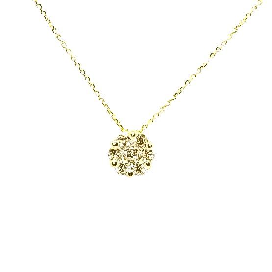 CADENA Oro Amarillo Flor Diamantes