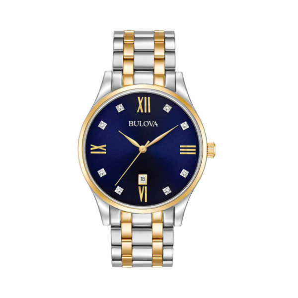 reloj Bulova diamonds tablero azul