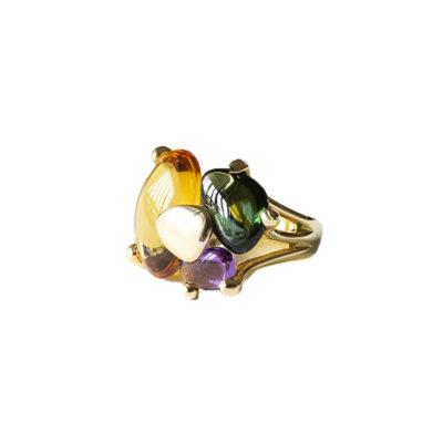 anillo plata citrine
