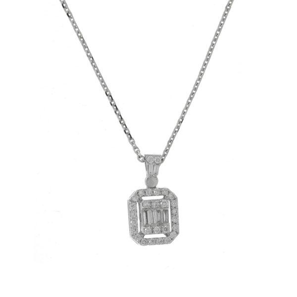 Cadena oro blanco diamante