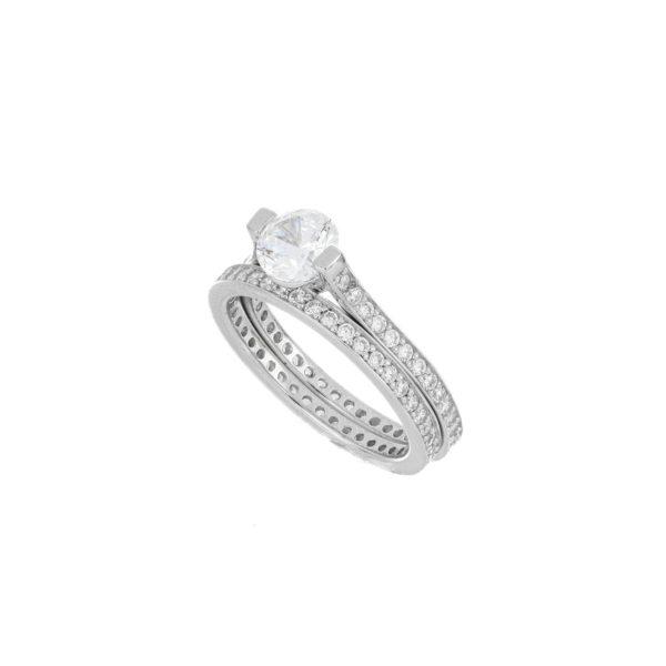 anillo plata solitario