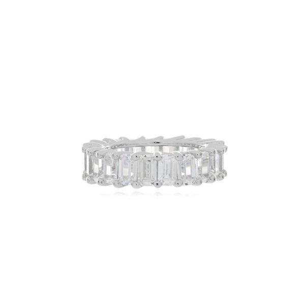anillo plata baguette