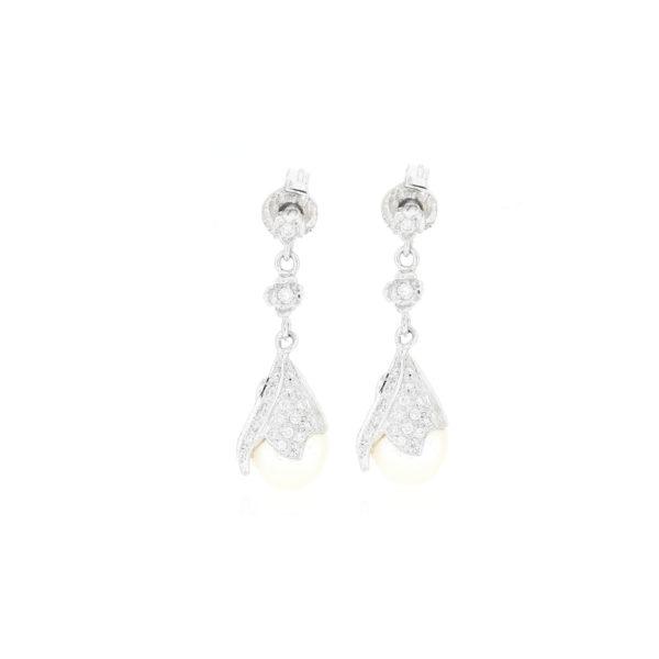 ARETE Oro Blanco Perla Diamante