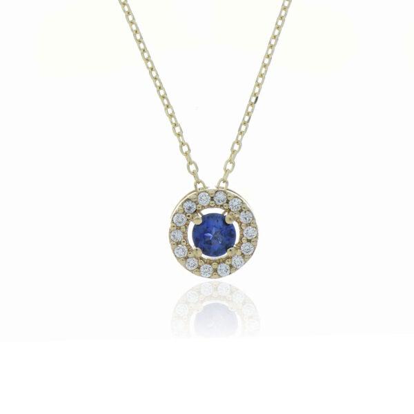 CADENA Oro Amarillo 45cm Diamantes y Zafiros