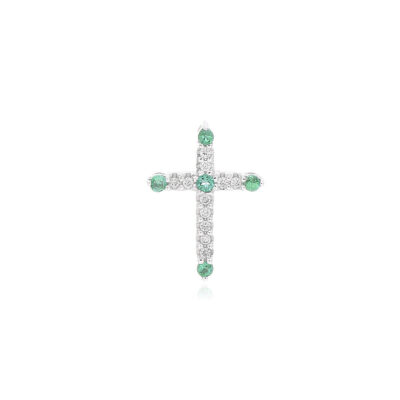 DIJE Oro Blanco Cruz Diamante y Esmeralda