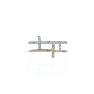 ANILLO Plata 925 oro cruz zircon