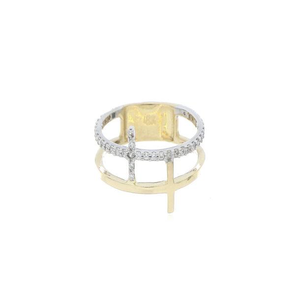 ANILLO Oro Amarillo Cruz Zircones