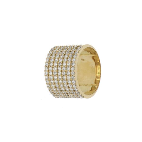 ANILLO Oro Amarillo argolla grusa Zircones