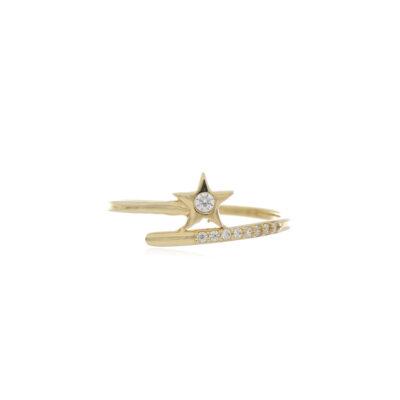 ANILLO Oro Amarillo Estrella con Zircones