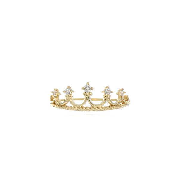 ANILLO Oro Amarillo corona con Zircones