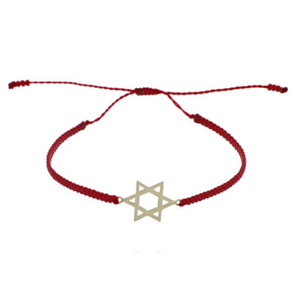 PULSERA Oro Amarillo Estrella David en Hilo Rojo