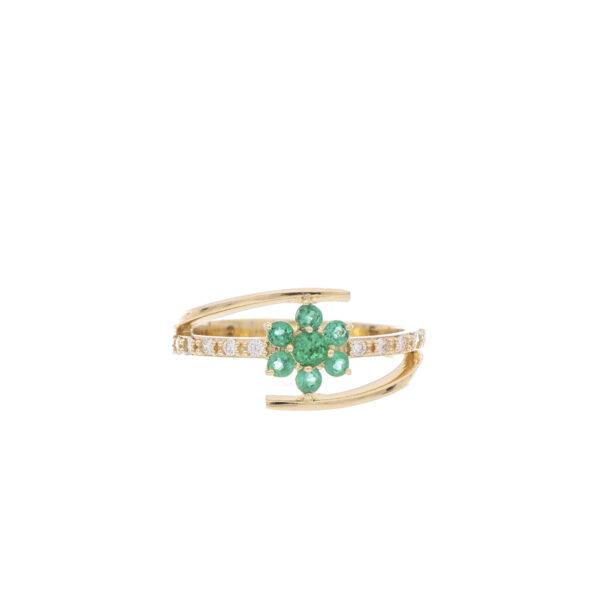 ANILLO Oro Amarillo Esmeralda Diamantes